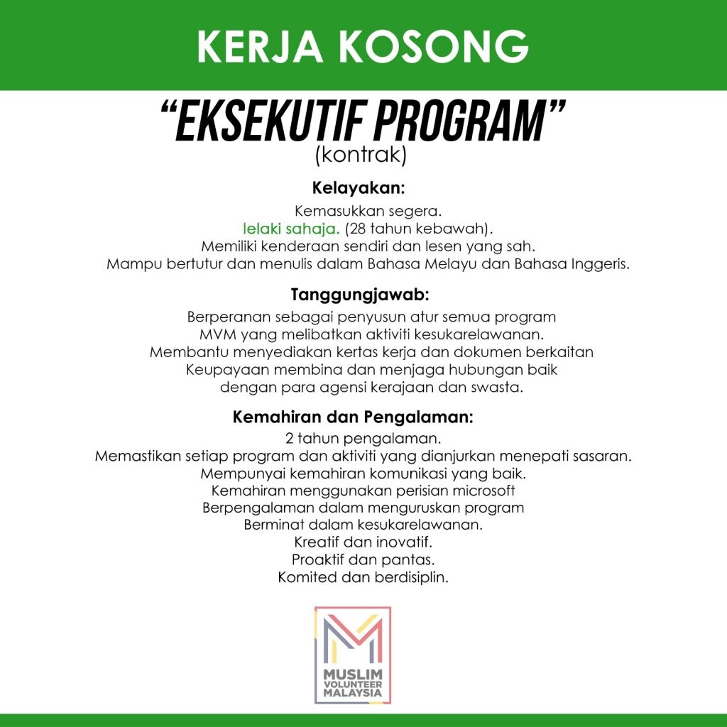 Jawatan Kosong Eksekutif Program